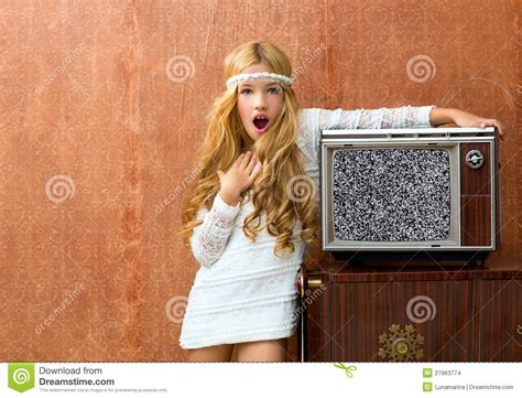 eurotic tv the good old days blond vintage 70s kid girl with retro love old tv stock