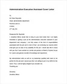 executive assistant cover letters administrative assistant cover letter 9 free sles