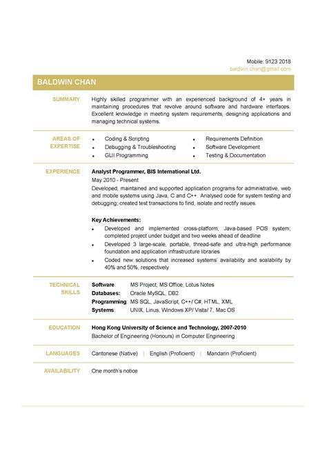 Programmer Resume by Programmer Cv Ctgoodjobs Powered By Career Times
