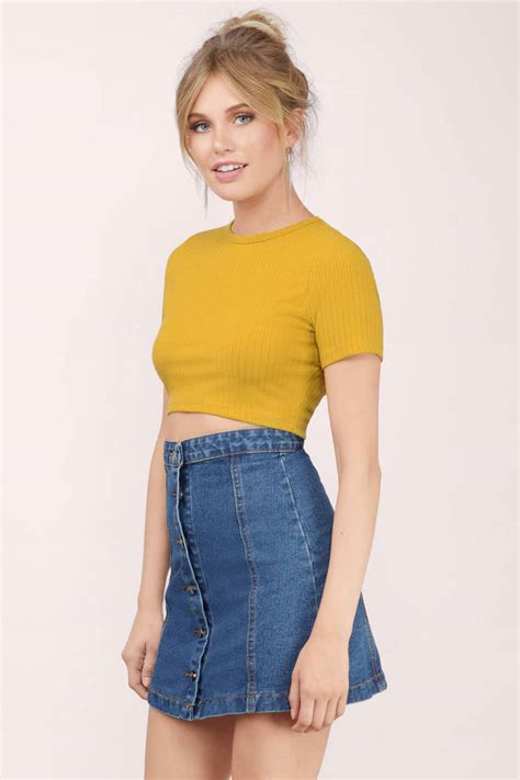 Top Mustard trendy yellow crop top yellow top crew neck top mustard top tobi gb