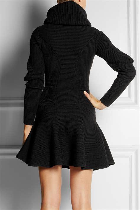 lyst alexander mcqueen ribbed wool dress  black