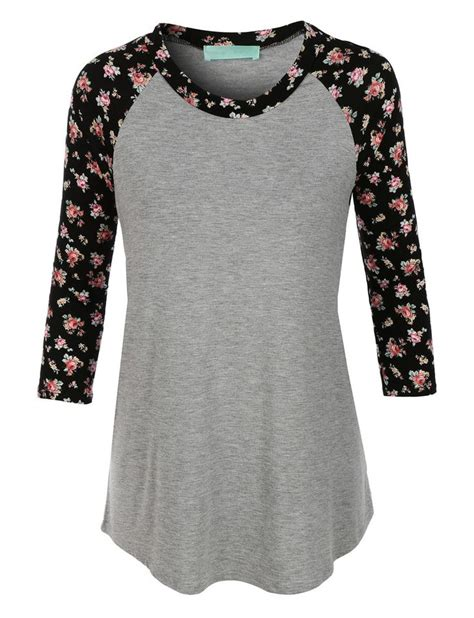 T Shirt Floral le3no womens lightweight neck floral raglan t shirt stitch fix rounding