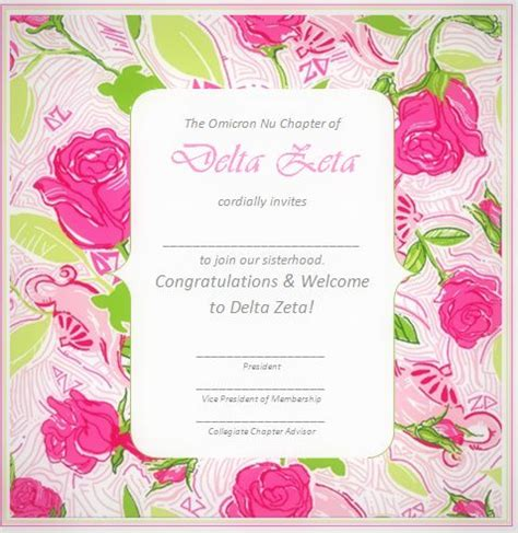 Bid Day Card Sorority Template Maker by 17 Best Images About Delta Zeta