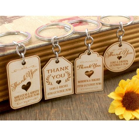 Wooden Wedding Favors by Personalized Engraved White Wooden Wedding Favor Key Chain