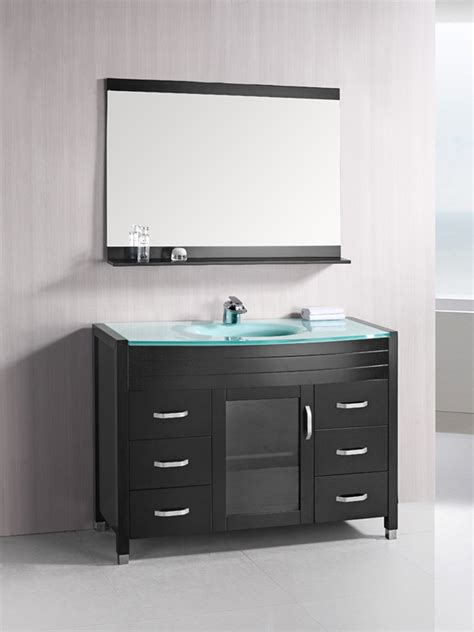 48 quot waterfall single bath vanity glass top bathgems