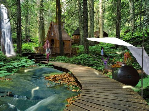 water houses deer elves waterfalls elfs wallpaper