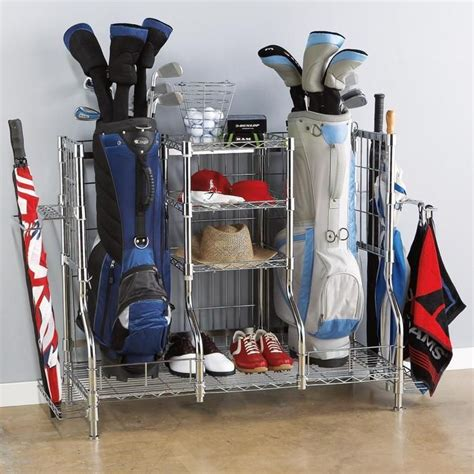 golf bag rack and organizer for the home