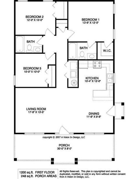 Simple Rectangular House Plans by Simple Rectangular House Plans With 2 Bathrooms And Garage