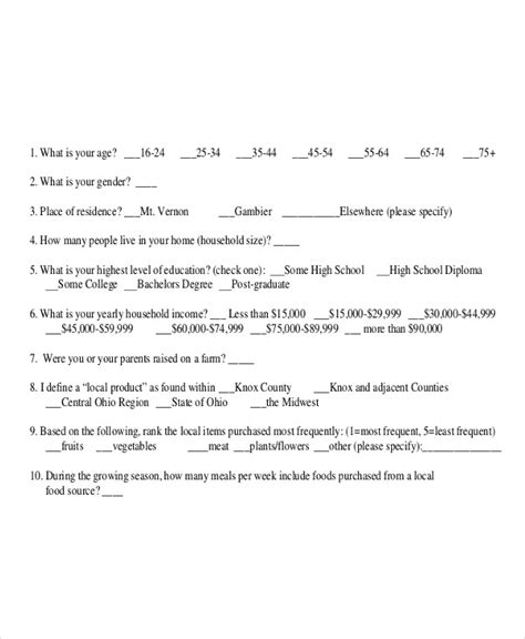 questionnaire examples   google docs word apple pages examples