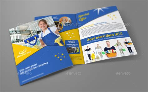 cleaning services company bi fold brochure by owpictures