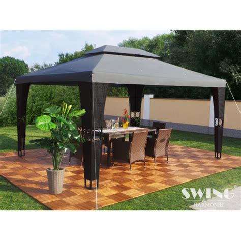 Metall Pavillon 3x4m by Polyrattan Havepavillon 3x4m Sort Polyrattan
