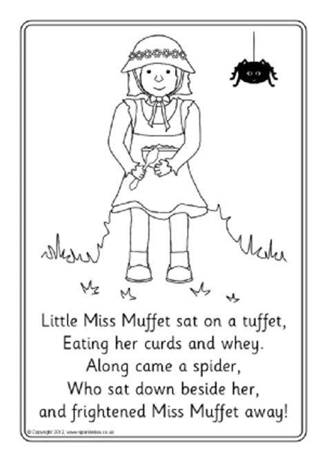 little miss muffet coloring page to invigorate in coloring