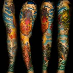 color sleeve tattoos inner visions tattoos realistic color