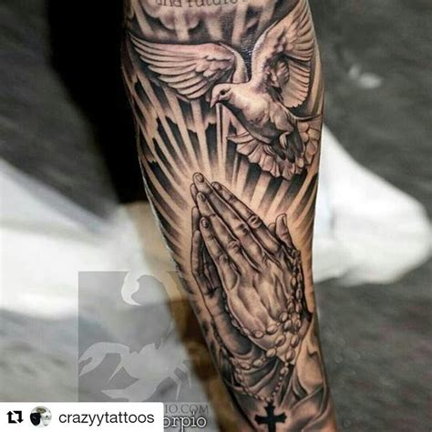 praying hands tattoos with rosary tattoo ideas