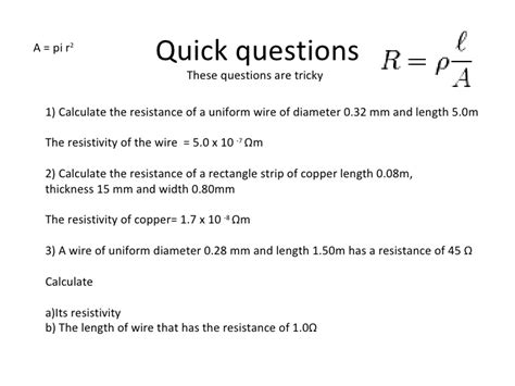 resistor questions and answers resistivity and resistance ppt