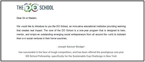 Sponsorship Letter For School Jo Stodgels Nyc Fellowship With The Do School Indiegogo