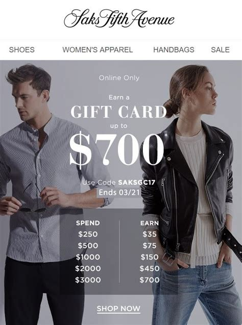 Saks Gift Card Event - saks 700 gift card event online only shopping and info