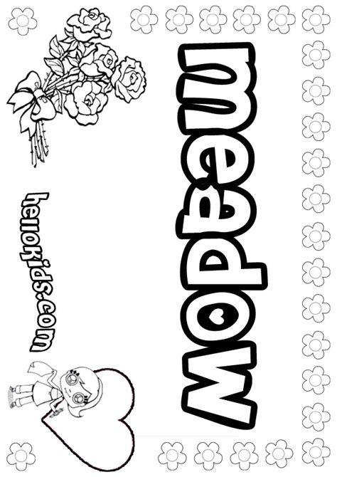 Girls Name Coloring Pages Meadow Girly Name To Color Meadow Coloring Pages