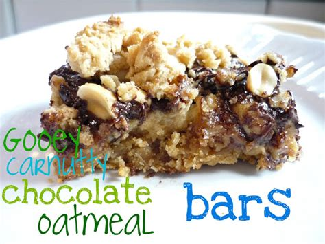 oatmeal bars with chocolate topping my kitchen my love gooey carnutty chocolate oatmeal bars