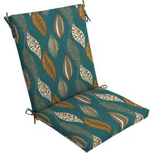 Mainstays Outdoor Cushions Mainstays Dining Chair Outdoor Cushion Turquoise Leaf