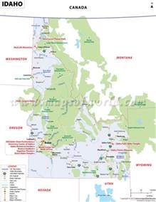 idaho map showing the major travel attractions including