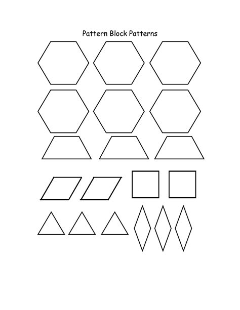 kindergarten pattern blocks printables pattern block templates cyberuse
