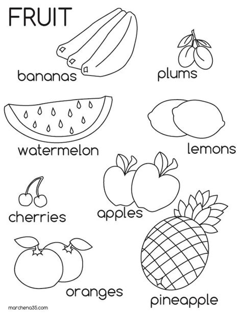 Fruits Coloring Pages Pdf fruit pictures for az coloring pages educational