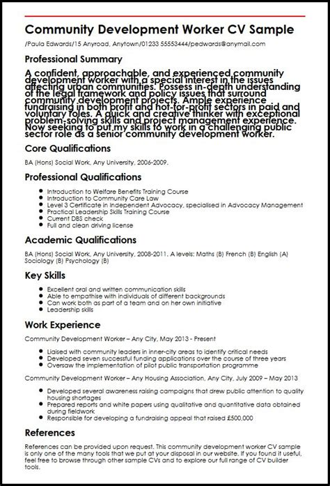 Community Development Report Template Community Development Worker Cv Sle Myperfectcv