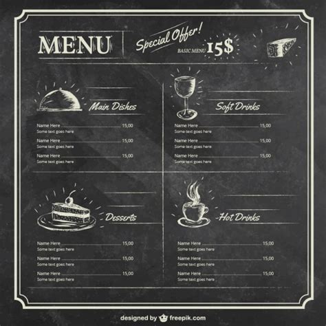 menu template on blackboard vector free