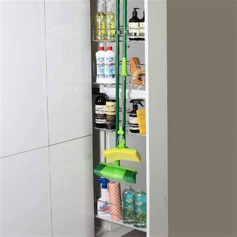 Outdoor Broom Cupboard - stainless steel pull out broom storage for narrow kitchen