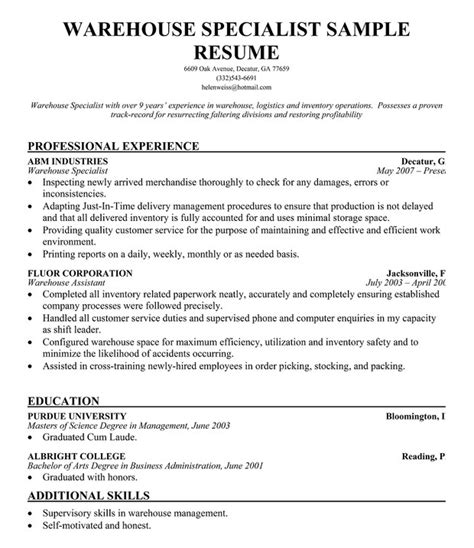 marketing specialist resume sle sle resume warehouse attendant warehouse manager resume