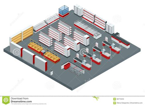 store layout vector vector isometric supermarket interior plan image includes