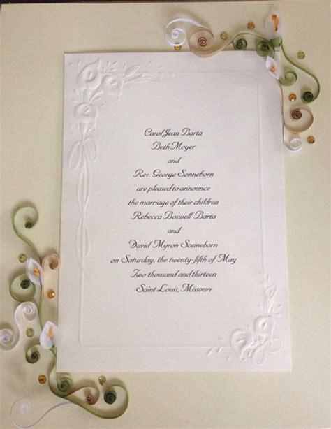 Wedding Invitation Keepsake by Paper Quilling Wedding Invitation Keepsake Quilling