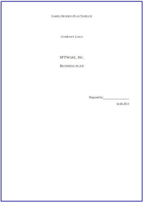 business plan title page template unsolicited excerpt free business sles and