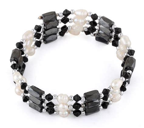 "24"" Magnetic Hematite Black Crystal Bead Pearl Bracelet/Necklace"