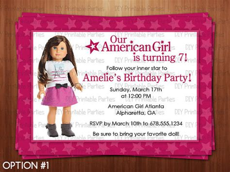 American Birthday Card Template by American Doll Birthday Invitations
