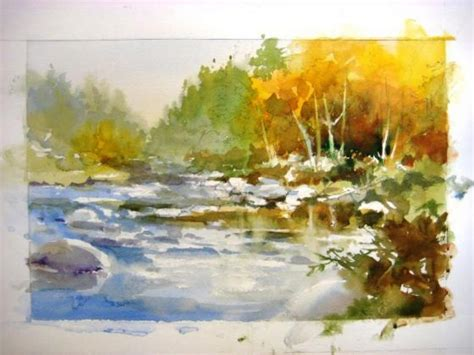 watercolor river tutorial how to paint water peaceful river roland lee