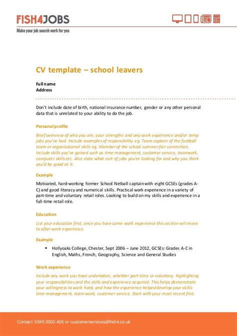 school leaver resume exle fish4jobs cv template for school leavers
