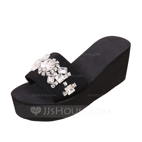 cloth sandals s cloth wedge heel sandals slippers with rhinestone