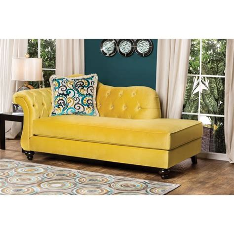 yellow velvet chaise lounge furniture of america dupre tufted velvet chaise lounge in