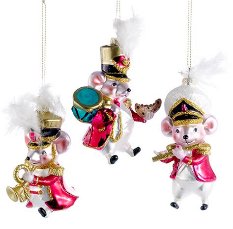 musical mice marching band christmas holiday ornaments set