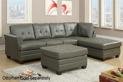 gray leather sectional sofas poundex f7777 grey leather sectional sofa steal a sofa