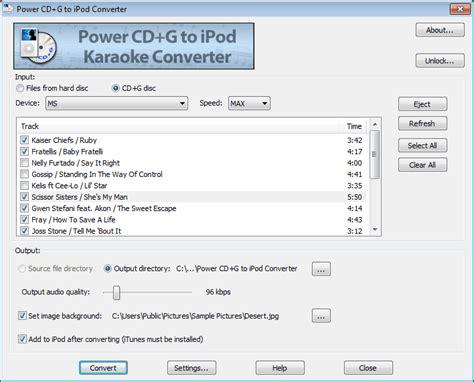 download mp3 converter karaoke power cd g to ipod karaoke converter 1 0 23