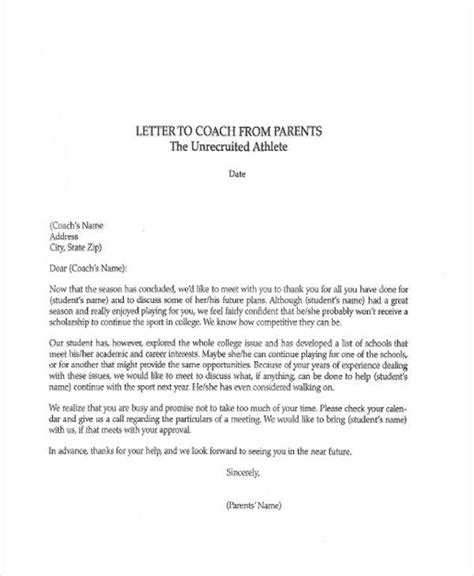 thank you letter to parents from end of the year sle thank you letters to coach 6 exles in word pdf