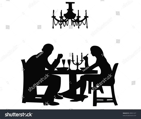 dinner silhouette couple having dinner silhouette stock vector 28901227