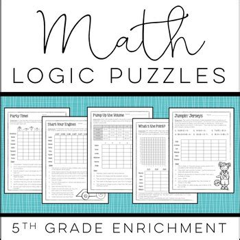 printable logic puzzles for 5th graders christy howe teaching resources teachers pay teachers