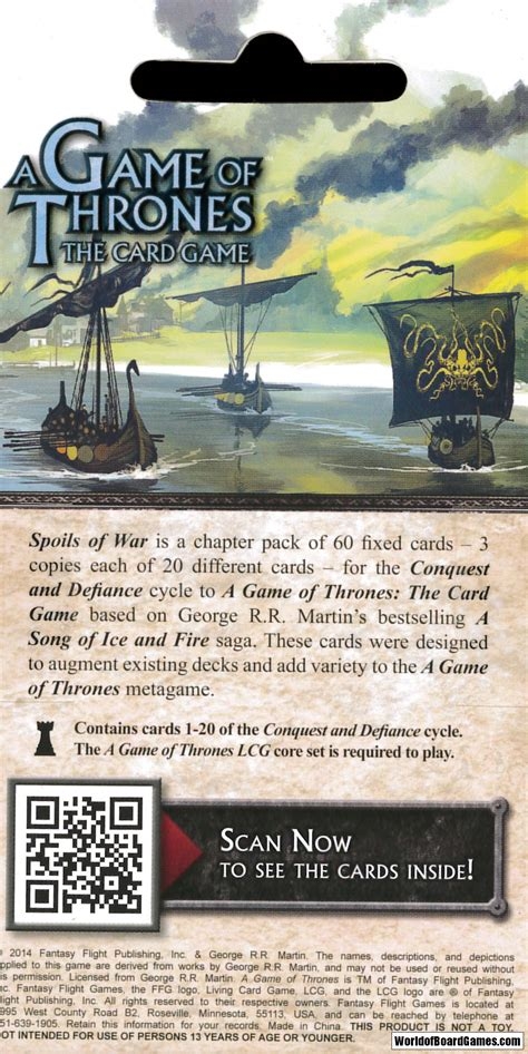 Spoils Of War Board a of thrones lcg spoils of war exp