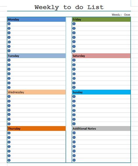 weekly to do list template blue layouts