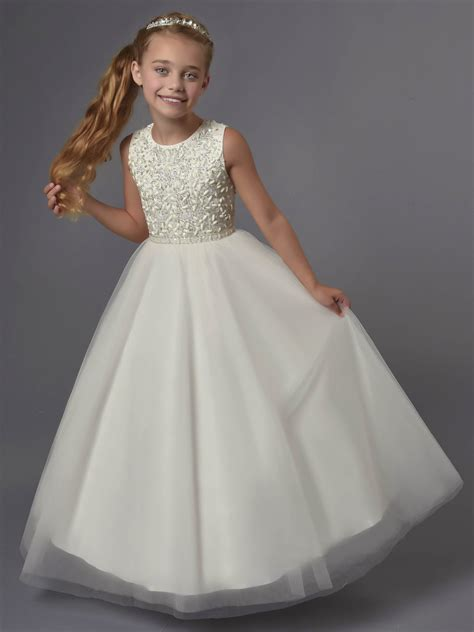 Princess Beaded Tulle Tea Length Wedding Flower Dress