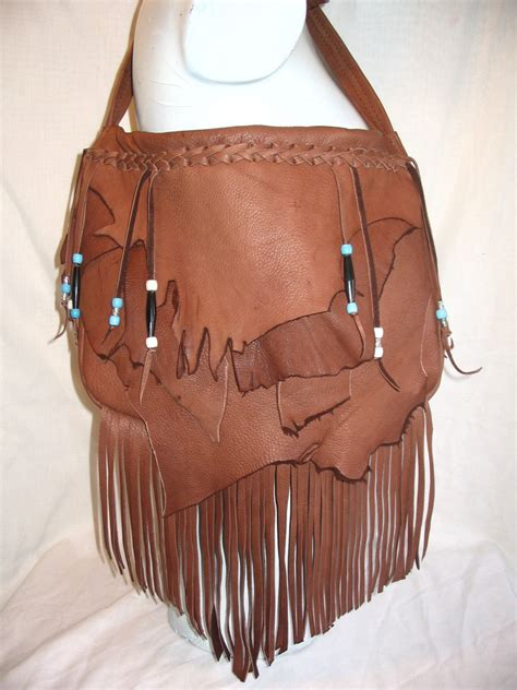 Handmade Leather Purse - handmade leather fringed purse marsala brown deerskin hobo